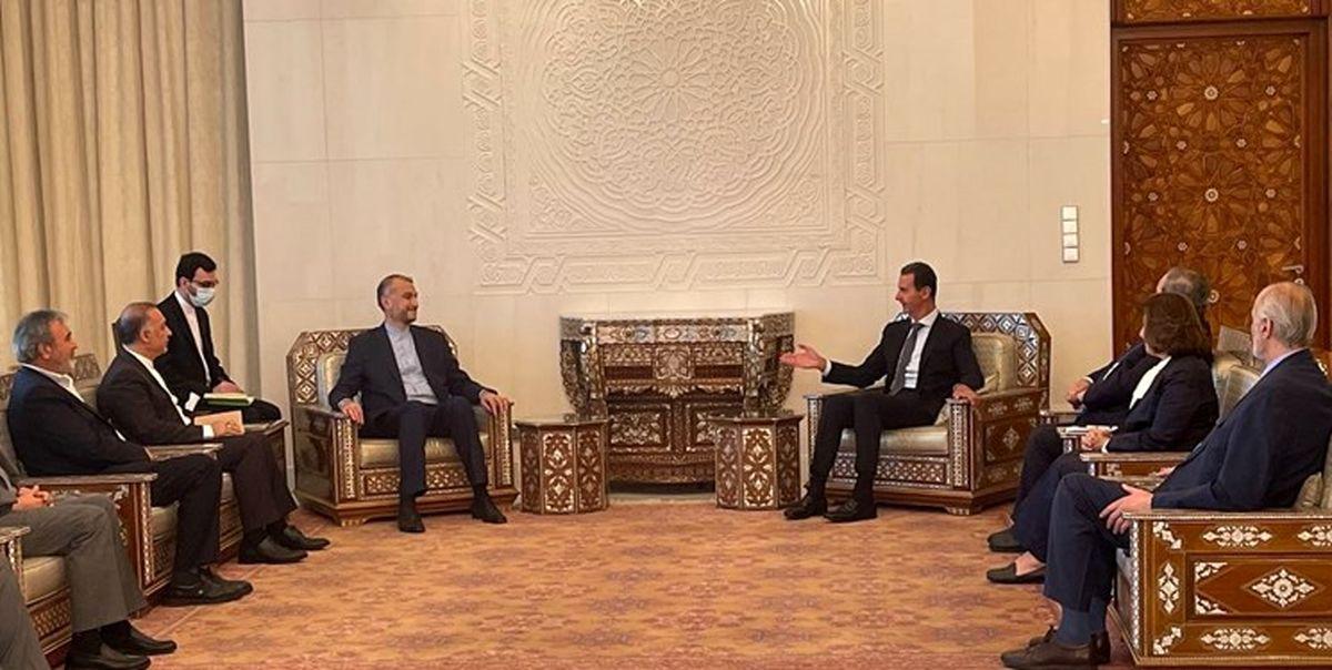 دیدار رییس جمهور سوریه با امیرعبداللهیان
