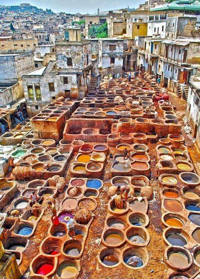 دباغی چرم در شهر فاس مراکش +عکس