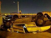 واژگونی مرگبار پراید در خیابان فرزانه