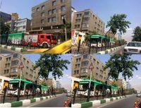 سقوط درخت بر روی اتوبوس بی آر تی +عکس