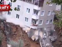 لحظه ریزش ساختمان 4 طبقه در استانبول +فیلم