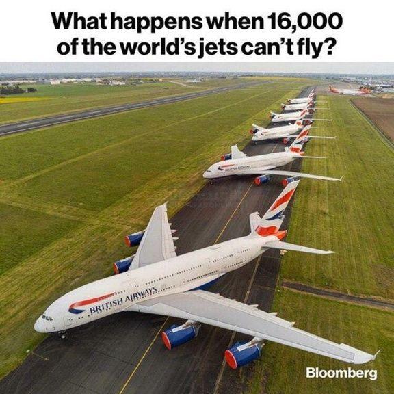 ۱۶۰۰۰ هواپیما در جهان زمینگیر شد