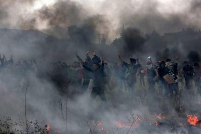درگیری پلیس با پناهجویان در یونان