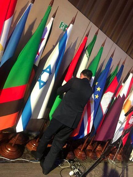 جابجایی پرچم ایران و اسراییل در اجلاس مسکو +عکس
