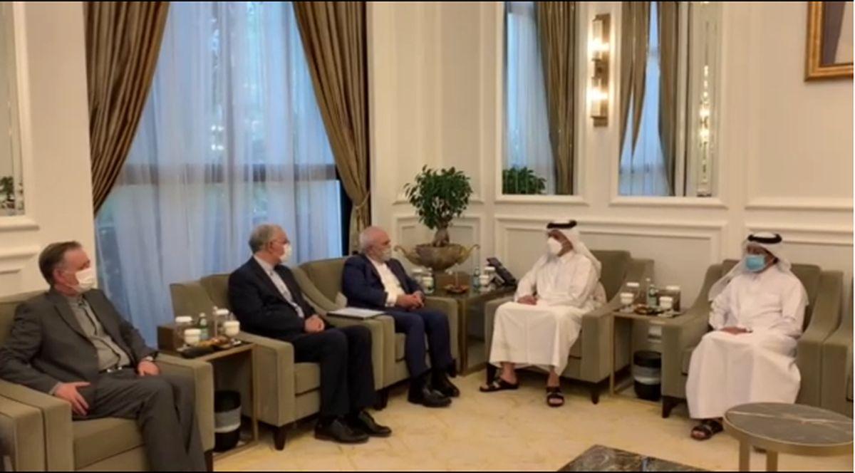 دیدار ظریف با وزیر خارجه قطر