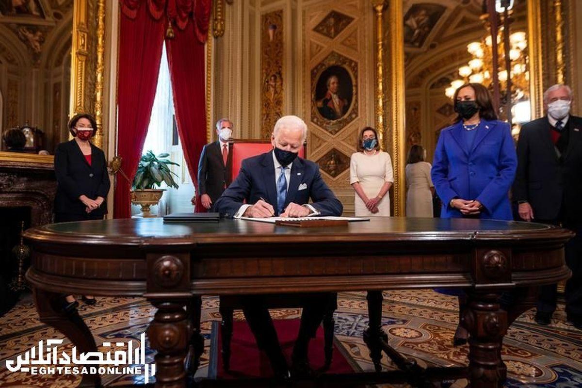 اولین عکس بایدن پشت میز ریاست جمهوری