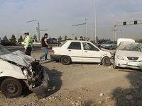 واژگونی پراید پس از تصادف شدید با دو خودرو +تصاویر