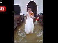 عروسی فیلیپینی که درسیل و طوفان عروسی گرفت ! +فیلم