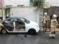 آتش گرفتن مبهم خودرو تیبا +تصاویر