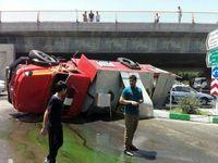 واژگونی خودروی آتشنشانی +عکس