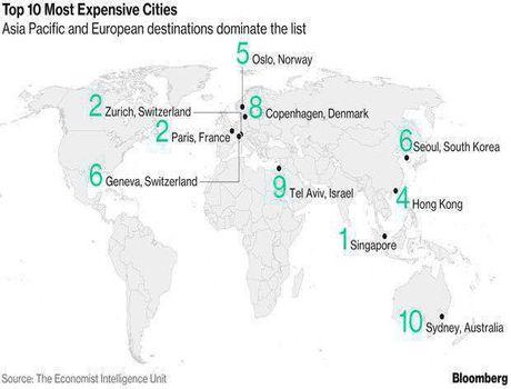 گرانترین شهرهای جهان به انتخاب بلومبرگ +اینفوگرافیک