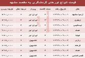قیمت تور هوایی مشهد؟ +جدول