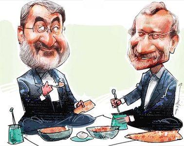 لاریجانی و رحمانی فضلی درحال دیزی خوری! (کاریکاتور)