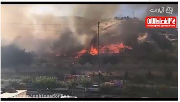 آتش سوزی گسترده در منطقه اوین تهران(ویدیوی جدید) +فیلم