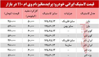 نرخ انواع لاستیک ایرانی پراید، ماتیز، ام وی ام 110در بازار؟ +جدول
