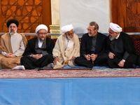 خوش و بش روحانی و لاریجانی با آیتالله جنتی +عکس