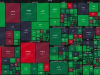 نقشه بازار سهام بر اساس ارزش معاملات/ بورس، هفته جدید را با نشاط آغاز کرد