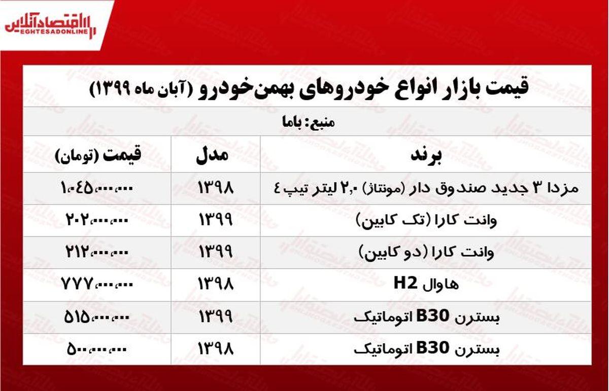 قیمت جدید خودروهای بهمنموتور +جدول