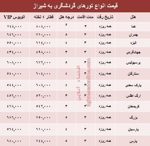 هزینه سفر زمینی به شیراز +جدول