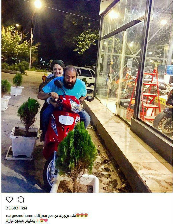 موتورسواری خانم بازیگر و همسرش +عکس