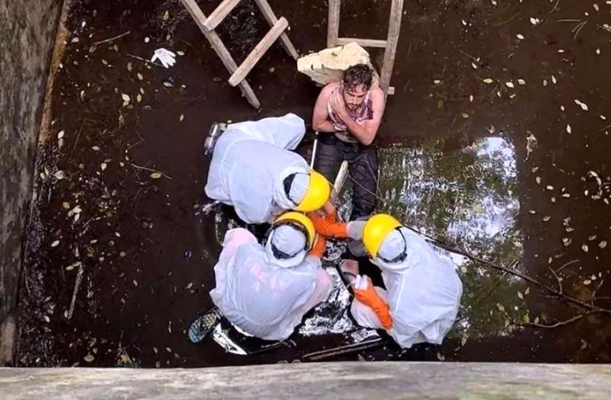 نجات مردی از گودالی که شش روز در آن گرفتار بود +تصاویر