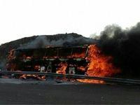 آتش گرفتن اتوبوس کرمان- خرمآباد +فیلم
